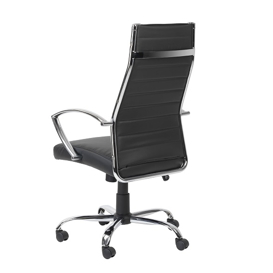 Julius Home Office Chair In Black Faux Leather With Castors_2