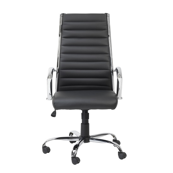 Julius Home Office Chair In Black Faux Leather With Castors_3