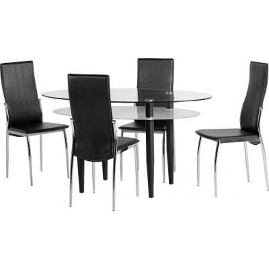 Hartley Black Dining Set In Metal Frame