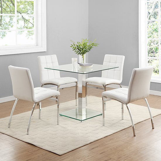 Hartley Glass Bistro Table With 4 White Coco Chairs
