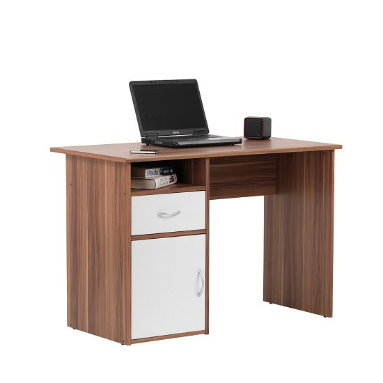 Cabrini Computer Work Station In Walnut And White With 1 Door_1
