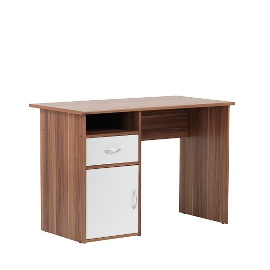Cabrini Computer Work Station In Walnut And White With 1 Door_2