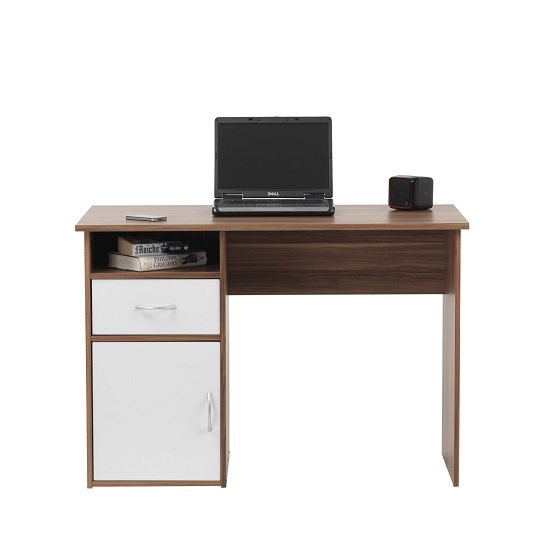 Cabrini Computer Work Station In Walnut And White With 1 Door_3