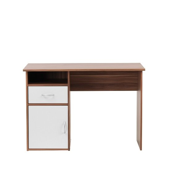 Cabrini Computer Work Station In Walnut And White With 1 Door_4