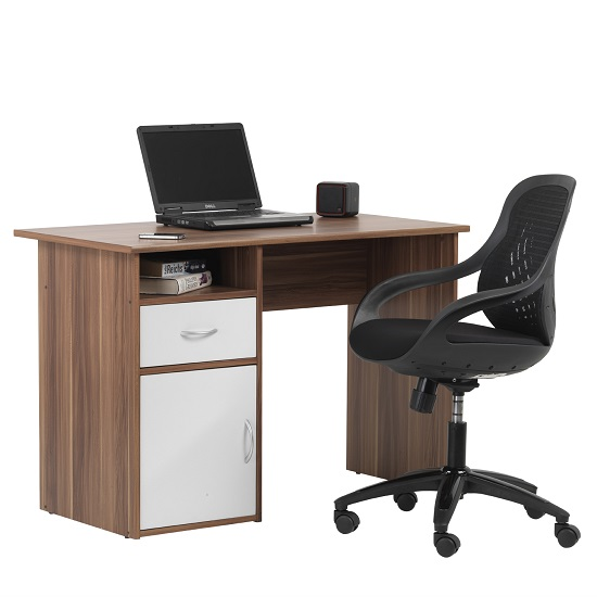 Cabrini Computer Work Station In Walnut And White With 1 Door_5