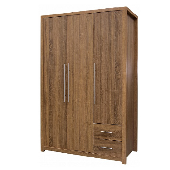 Mariona Wardrobe In Oak With 3 Doors And 2 Drawers
