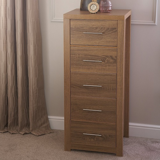 Mariona Narrow Chest of Drawers In Oak With 5 Drawers