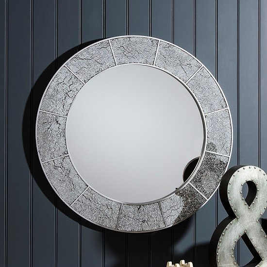 Ellwood Wall Mirror Round In Crackle Glass With Grey Frame