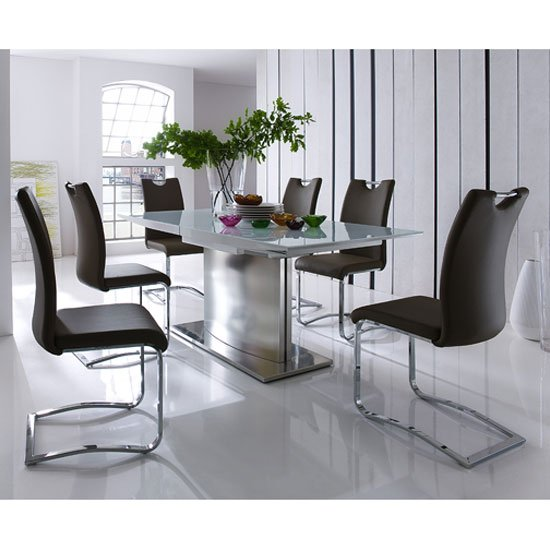 Helio Extendable Glass Dining Table With 6 Koln Brown