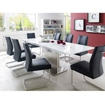 Helio Extendable Glass Dining Table With 8 Alamona Black Chairs