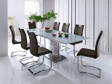 Helio Extendable Glass Dining Table With 8 Koln Brown Chairs