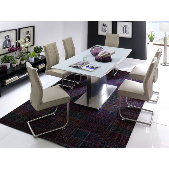 Helio Extendable Glass Dining Table With 6 Alamona Truffle Chair