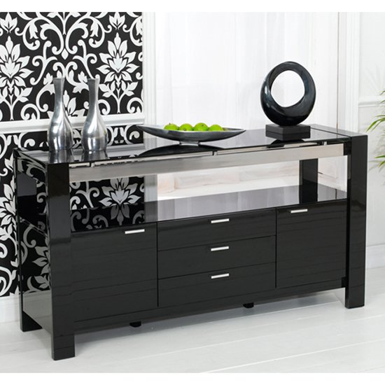 Lexus High Gloss Black Glass Sideboard 13181 Furniture In