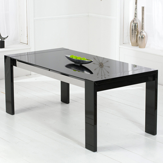 Lexus High Gloss Black Glass Dining Table Only
