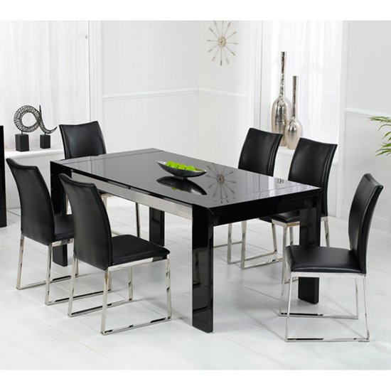 Lexus high gloss black glass dining table and 6 knight for Black glass dining table