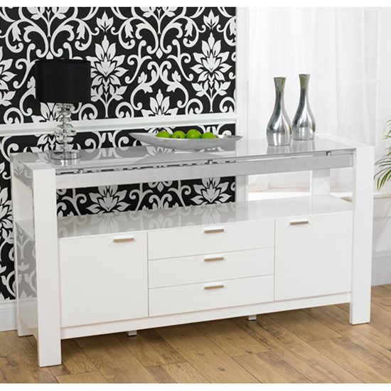 Lexus High Gloss White Glass Sideboard 13183 Furniture In