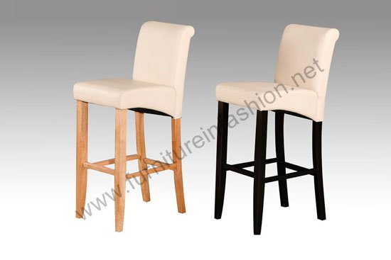 Monte Carlo Genuine Leather High Bar Chair with Oak Legs