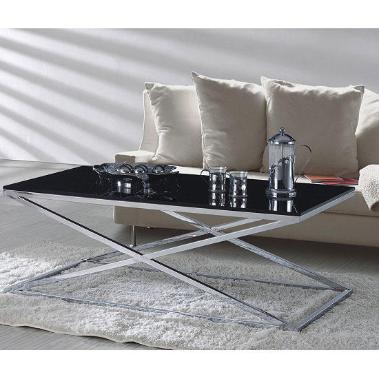 Henley Storage Coffee Table: Henley Black Glass Coffee Table And Stainless Steel Frame 24