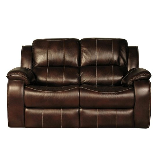 2 Seater Leather Sofa Brown: Holbrook Recliner 2 Seater Sofa In Brown Faux Leather 27057
