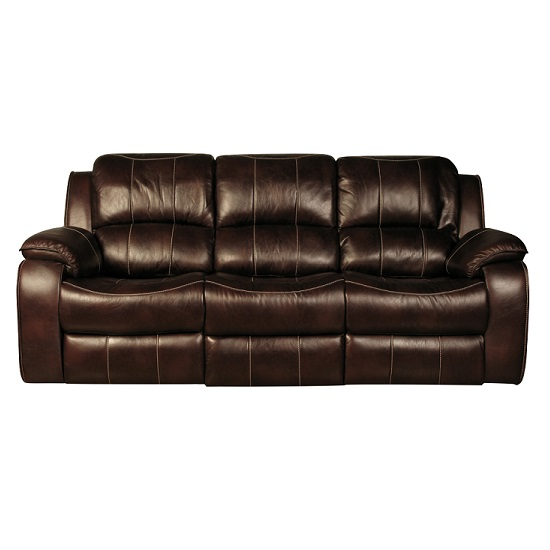 Holbrook 3 Seater Recliner Sofa In Brown Faux Leather