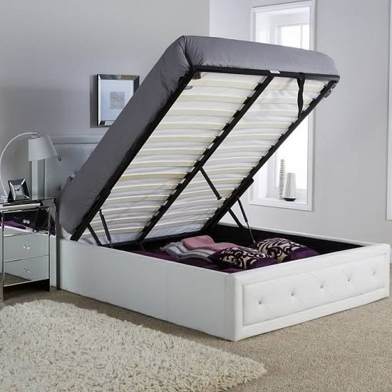 Selena Storage Bed In White Faux Leather With Diamanté_2