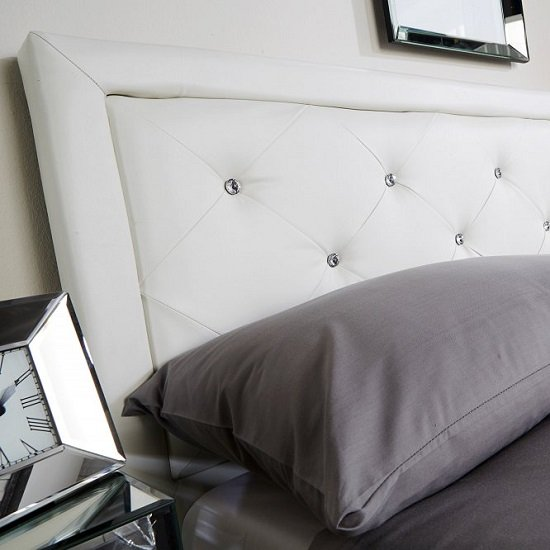 Selena Storage Bed In White Faux Leather With Diamanté_4