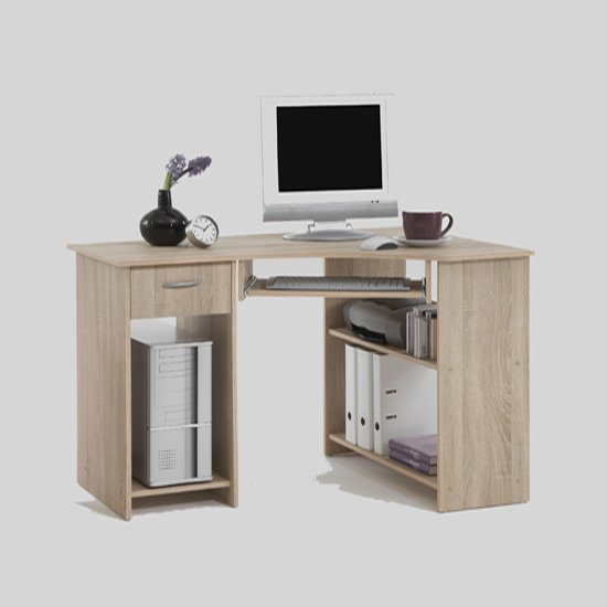 Felix Home Office Wooden Corner Computer Desk In Oak