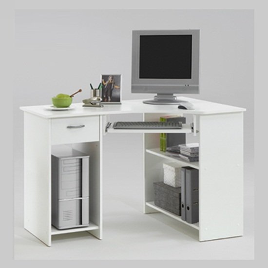 felix home office wooden corner computer desk in white. Black Bedroom Furniture Sets. Home Design Ideas