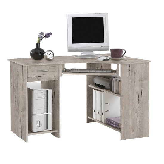 Felix Home Office Wooden Corner Computer Desk In Sand Oak