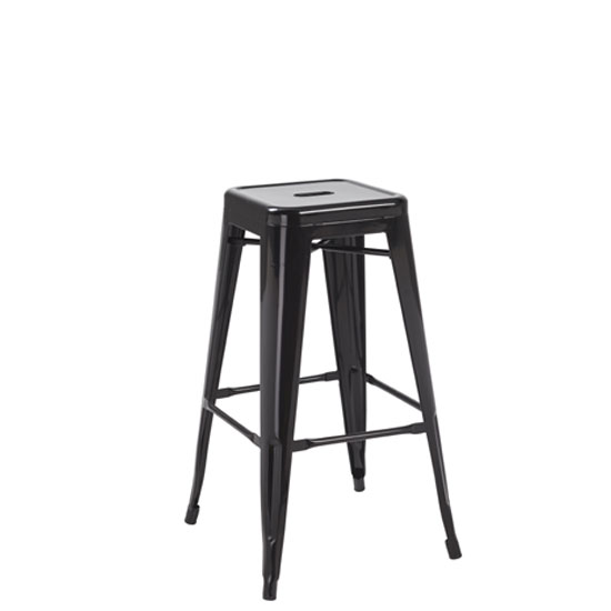 Photo of Hoxton black metal finish vintage look stackable bar stool