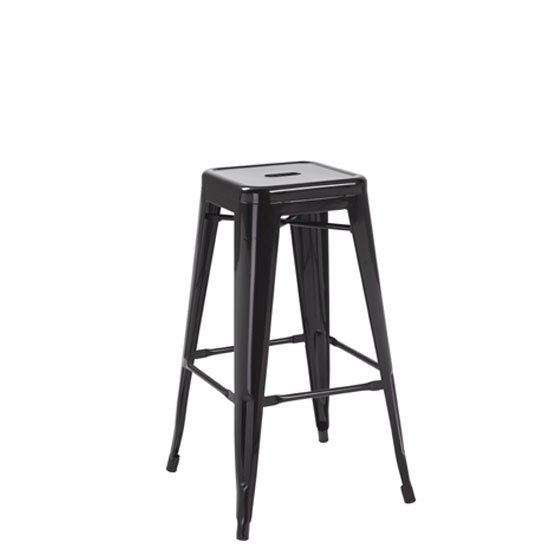Hoxton Black Metal Finish Vintage Look Stackable Bar Stool