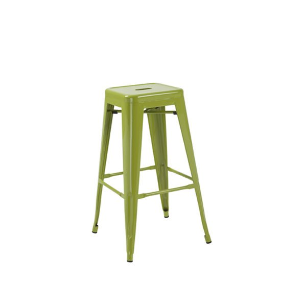 Photo of Hoxton green metal finish vintage look stackable bar stool