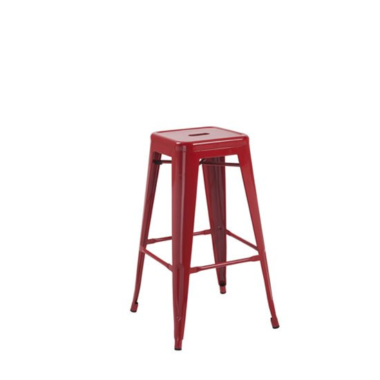 Photo of Hoxton red metal finish vintage look stackable bar stool