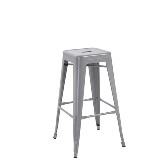 Hoxton Silver Metal Finish Vintage Look Stackable Bar Stool