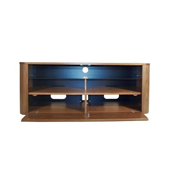 cardiff wooden tv stand in walnut with glass shelf 26254. Black Bedroom Furniture Sets. Home Design Ideas