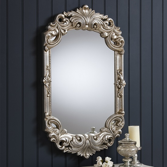 Huston Wall Mirror In Silver With Florentine Styled Carving