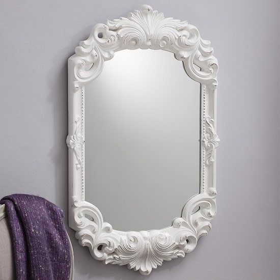 Huston Wall Mirror In White With Florentine Styled Carving