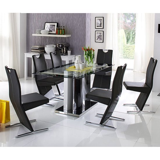 Tyler Glass Dining Table With Pedestal And 4 Image Chairs