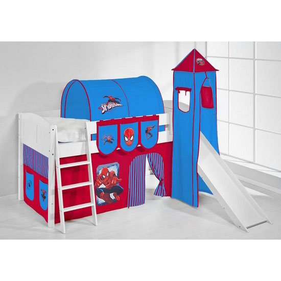 IDA Spiderman Children Bed In White With Tower And Curtains