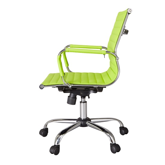 Medlin Home Office Chair In Lime Green Faux Leather And Cast