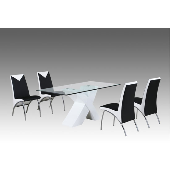 Xanti White Gloss X Base Glass Dining Table And 6 Renee Chairs
