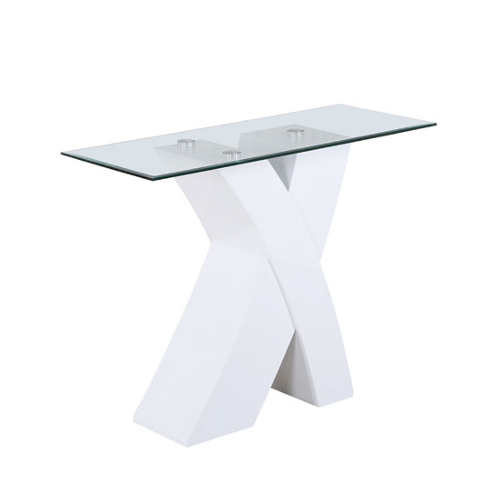 Xanti clear glass top console table with white x high gloss - White table with glass top ...