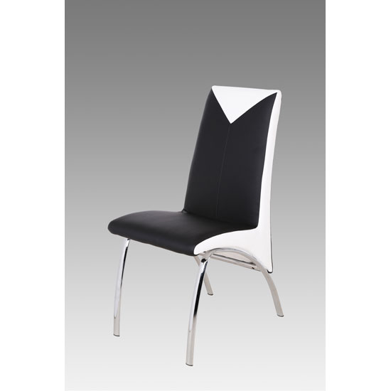 White And Black Dining Chairs: Renee Black And White Faux Leather Dining Chair With Metal