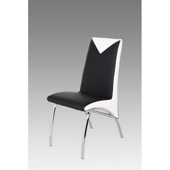 Black And White Dining Chair: Renee Black And White Faux Leather Dining Chair With Metal