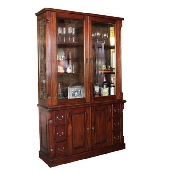 Belarus 2 Glass Doors Display Cabinet With Sideboard In Mahogany