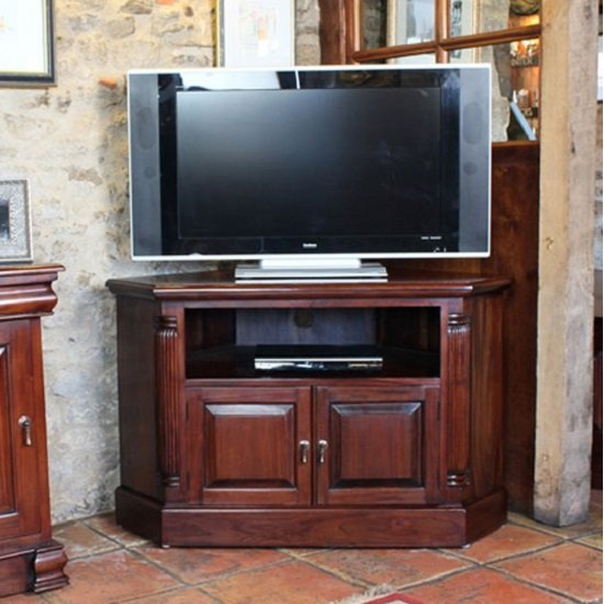 View Belarus corner lcd tv stand in mahogany with cupboard and shelf