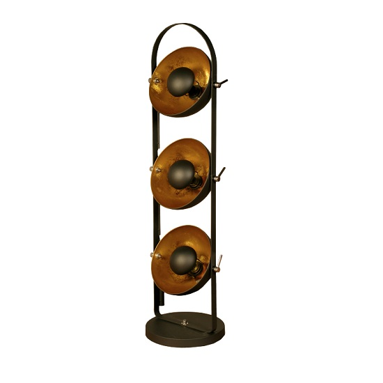 Read more about Wilcox floor lamp in sand black with gold inners