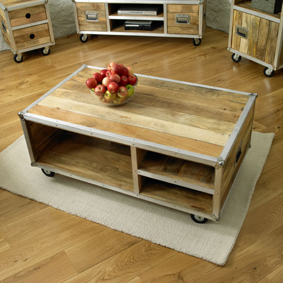 Baylin Wooden Coffee Table With Aluminium Border And 3 Shelf