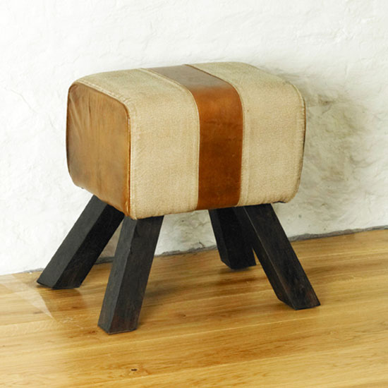 Baylin FootStool in Antique Leather And Cotton