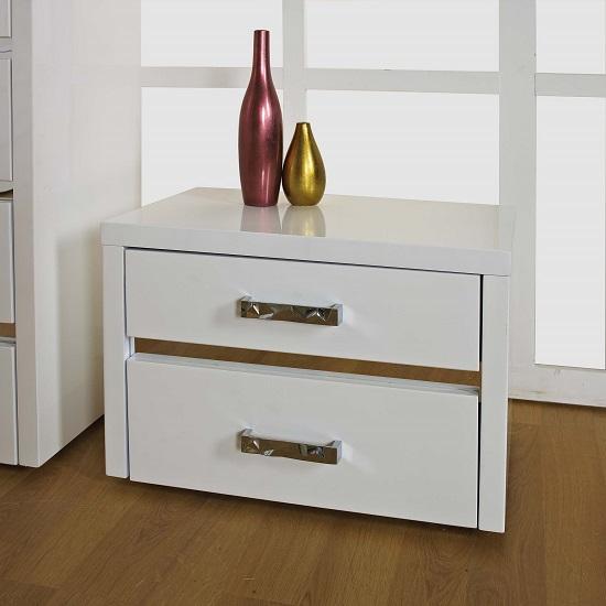Stefan high gloss black 2 drawer bedside cabinet bedside for Funky bedside cabinets